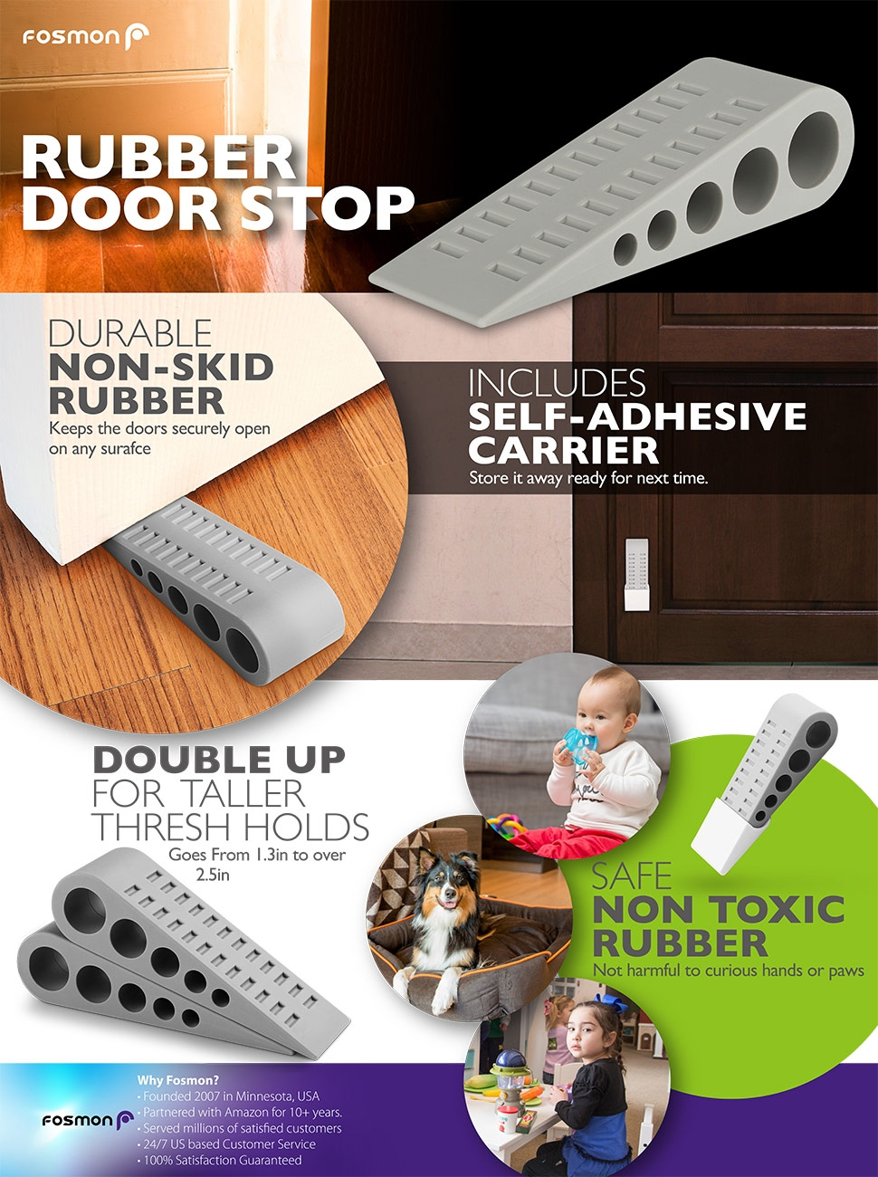 Heavy Duty Rubber Door Stopper With Holder Gray 3 Pack