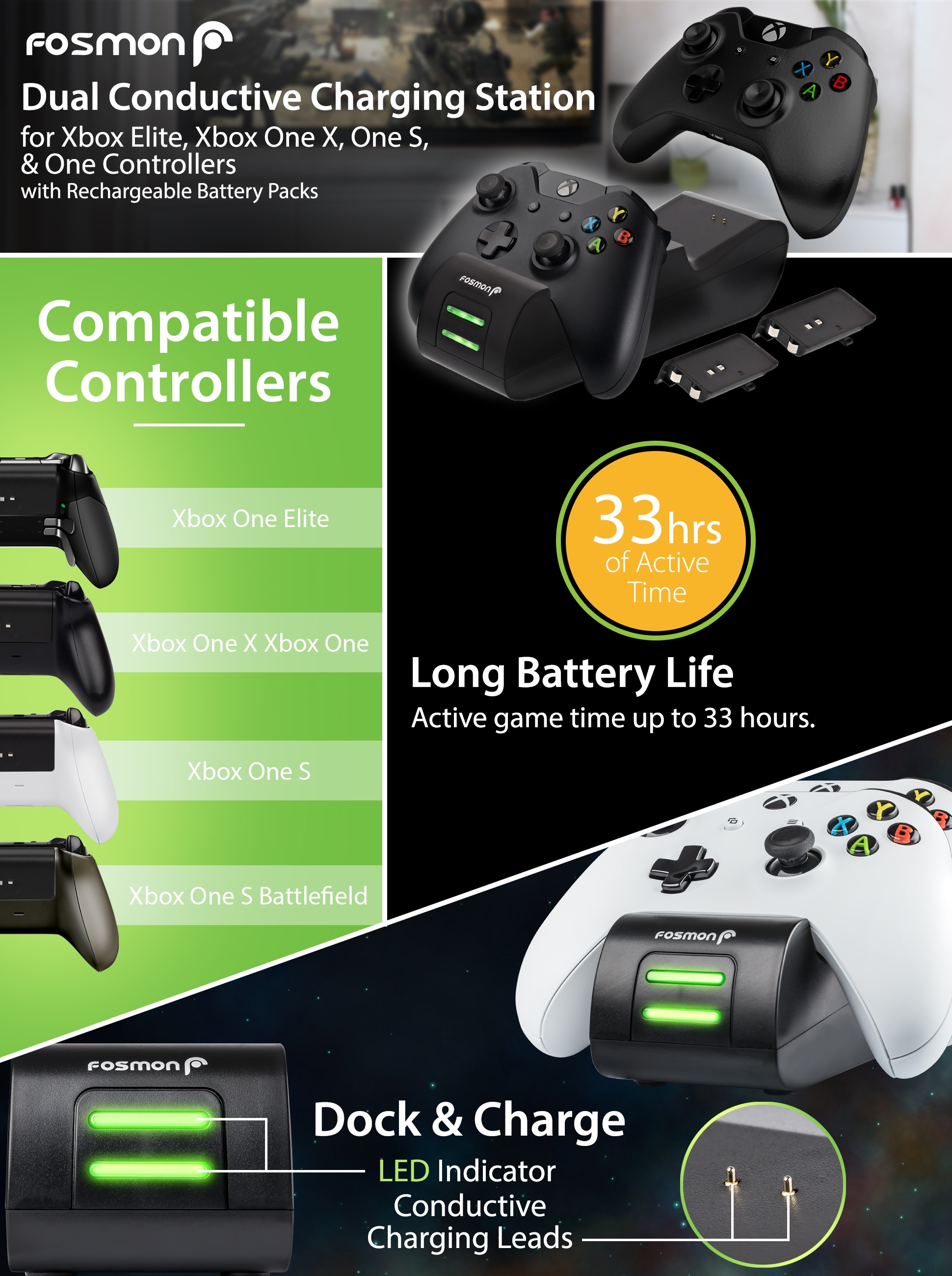Xbox One/One X/One S Dual PRO Controller Charger, [Dual Slot