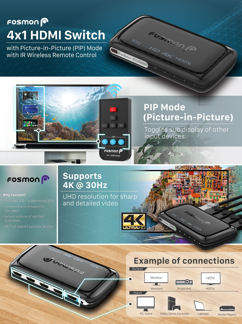 4X1 HDMI Switch w/ IR Remote Control and US AC Power Adapter - Black ...